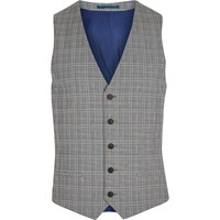 River Island Mens Grey Check Suit Waistcoat
