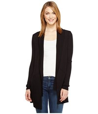 Michael Stars Supima Cotton Slub Shawl Collar Cardigan Black Women's Sweater
