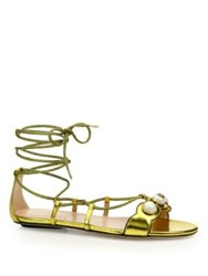 Gucci Willow Embellished Metallic Leather Lace Up Gladiator Sandals Gold