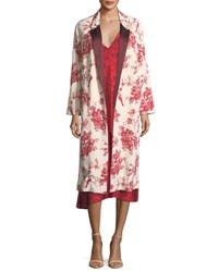 Giada Forte Liberty Print Open Front Jacquard Duster Coat Red Pattern