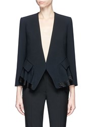 Chloe Pleated Hem Peplum Back Crepe Sable Blazer Black