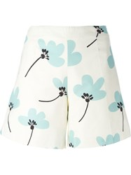 Eggs High Waist Floral Print Shorts White