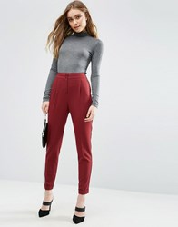Asos Tailored High Waisted Trousers With Turn Up Detail Wine