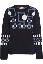 Tod's Intarsia Wool And Cashmere Blend Sweater