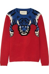 Gucci Embellished Intarsia Wool Sweater Red