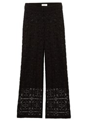 Serena Bute Straight Leg Mid Rise Lace Trousers Black