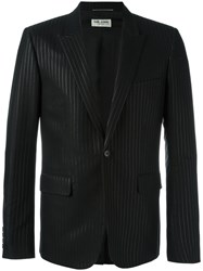 Saint Laurent Tonal Pinstripe Jacket Black