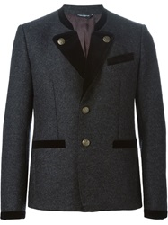 Dolce And Gabbana Velvet Trim Military Jacket Grey