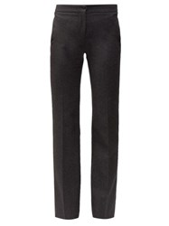 Alexander Mcqueen Cut Straight Leg Wool Trousers Grey