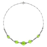 Eclectica Vintage 1930S Chrome Plated Glass Stone Art Deco Necklace Silver Green