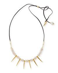 Pyramid Ii Pearl And Spike Necklace Lizzie Fortunato Multi Colors