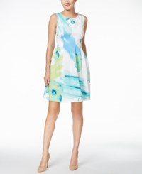 Calvin Klein Floral Print Scuba Fit And Flare Dress Green Multi