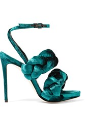 Marco De Vincenzo Braided Velvet Sandals Emerald