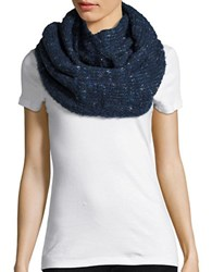 Echo Wool Blend Boucle Infinity Scarf Navy Blue