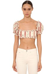Brock Collection Printed Silk Satin Crop Top Array 0X57fd038