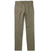 Aspesi Tapered Garment Dyed Cotton Twill Trousers Green