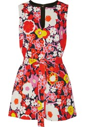 Victoria Beckham Floral Print Wool Playsuit