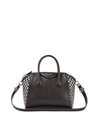 Givenchy Antigona Woven Leather Satchel Bag Black White Black White