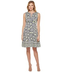 Maggy London Twin Etched Flower Cotton Fit And Flare Dress Soft White Spring Green Women's Dress Gray