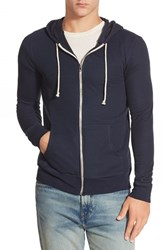 Men's Threads For Thought Waffle Knit Thermal Zip Hoodie Blue Night