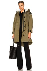 Burberry Prorsum Oversized Shearling Parka In Green