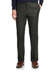 Saks Fifth Avenue Flat Front Wool Dress Pants Dark Olive