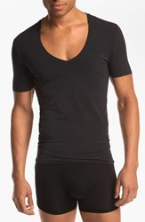 Men's Tommy John 'Cool Cotton' Pima Cotton Deep V Neck T Shirt Black
