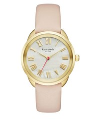 Kate Spade Crosstown Goldtone Stainless Steel And Vachetta Leather Strap Mother Of Pearl Analog Watch Beige