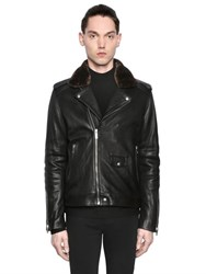 The Kooples Nappa Leather Biker Jacket W Faux Fur