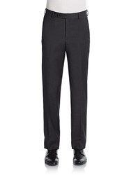 Saks Fifth Avenue Black Flat Front Wool Trousers Navy