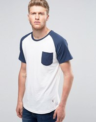 Ringspun Raglan Pocket T Shirt With Curved Hem White