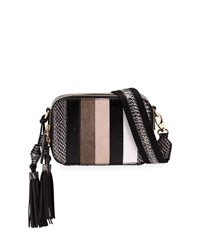 Rafe Sophie Snakeskin And Leather Striped Crossbody Camera Belt Bag Black White