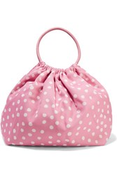 Red Valentino Redvalentino Leather Trimmed Polka Dot Canvas Tote Pink