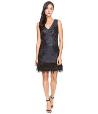 Rsvp Oak Ridge Feather Dress Black Navy Women's Dress