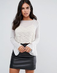 Amy Lynn Long Sleeve Top With Lace Bralet Overlay Cream