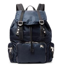 Burberry Leather Trimmed Nylon Backpack Navy