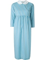 Comme Des Gara Ons Girl Peter Pan Collar Striped Dress Blue