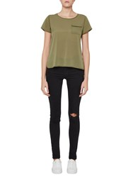 French Connection Classic Crepe Light Pocket Top Burnt Olive