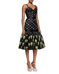 Alexander Mcqueen Embroidered Floral Corset Dress Black Mix