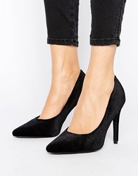 New Look Velvet Pointed Court Shoe Black
