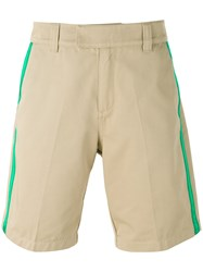Soulland Green Striped Shorts Men Cotton Polyester L Nude Neutrals