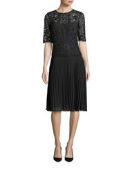Rickie Freeman For Teri Jon Pleated Lace A Line Dress Black