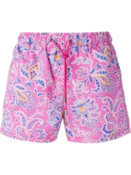 Etro Floral Paisley Swim Shorts Pink And Purple