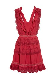 Self Portrait Tiered Broderie Anglaise Mini Dress