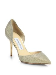 Jimmy Choo Addison Glitter Lame D'orsay Pumps Gold