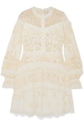 Needle And Thread Ava Lace Trimmed Embellished Tulle Mini Dress White