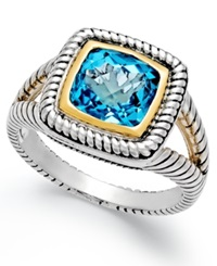 Macy's Blue Topaz Rope Ring 2 3 5 Ct. T.W. In Sterling Silver And 14K Gold Two Tone