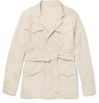 Eidos Cotton And Linen Blend Field Jacket Beige