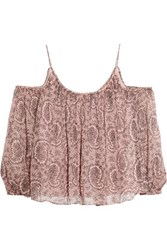 Elizabeth And James Maylin Off The Shoulder Printed Silk Chiffon Top Antique Rose