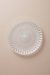 Anthropologie Checkerboard Charger White